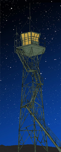 Torre, vigia,noche, dibujo