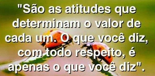 São as atitudes que determinam o valor de cada um Tudo Nosso