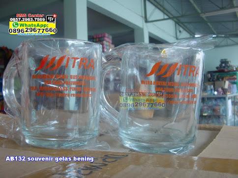 souvenir gelas bening unik