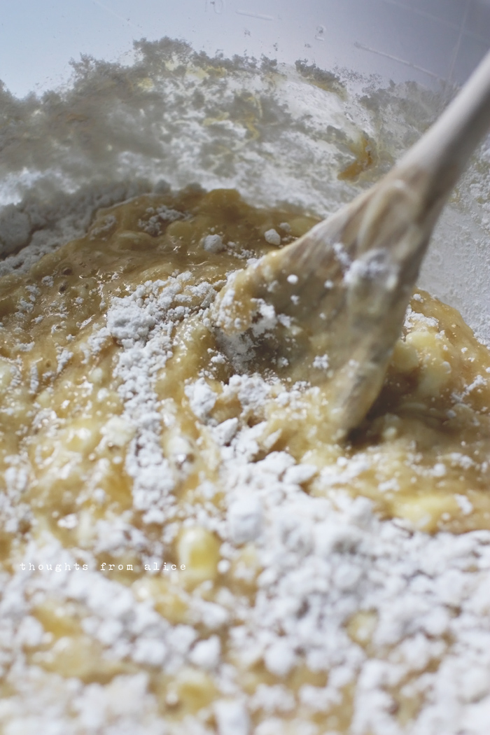 Combining Wet And Dry Ingredients For Banana Bread