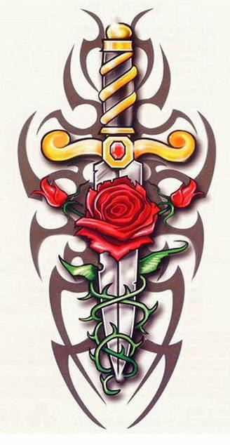 Rose and dagger tribal tattoo stencil