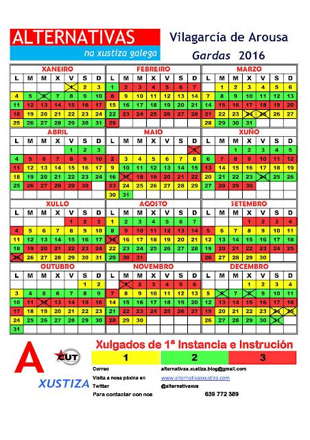 Vilagarcía. Calendario gardas 2016