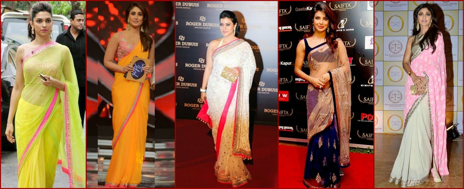 Bollywood actresses in manish malhotra sarees, deepika in manish malhotra saree, Kareena in manish malhotra saree, Kajol in manish saree, priyanka in manisha saree, shilpa shetty in manish malhotra