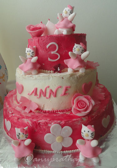 Anu Prathaps Kitchen 3 Tiered Hello kitty Birthday cake