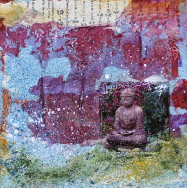 square collage painting with Buddha