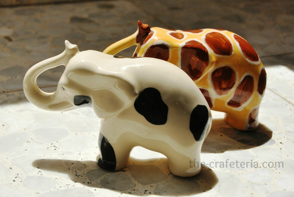 Ceramic Cow Elephant and Giraffe Elephant