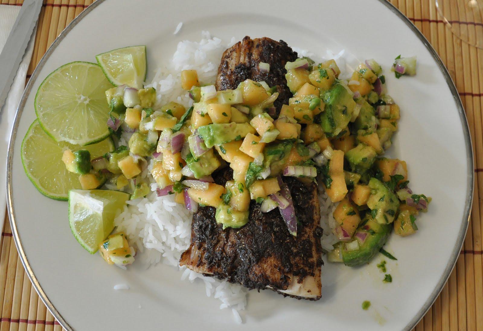 ... she cooks, too: Jerk-spiced grilled mahi mahi with avocado-melon salsa