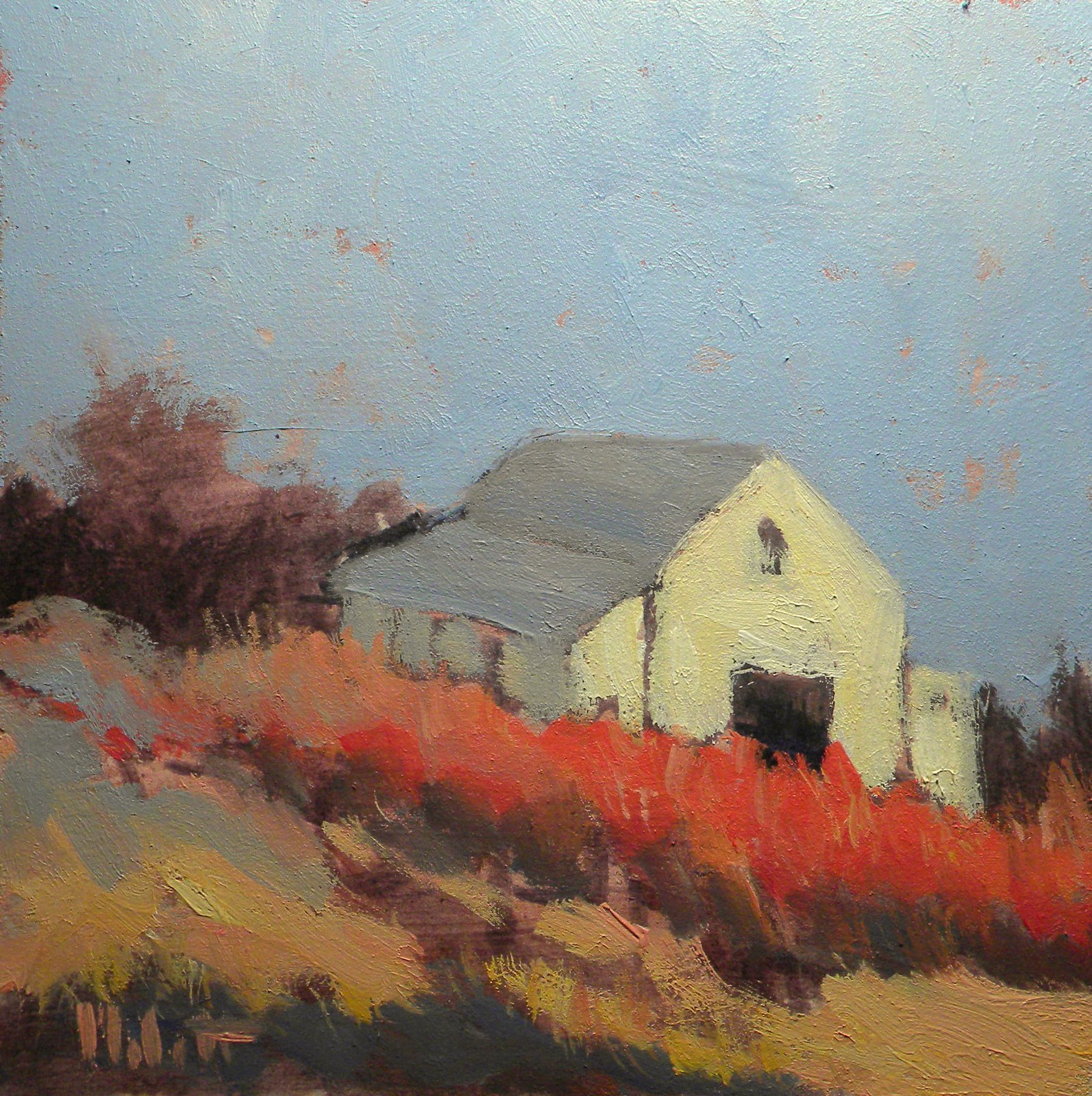 ... Malott Original Paintings: White Barn Autumn Landscape Oil Painting