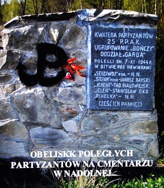 Obelisk poległych partyzantów na cmentarzu w Nadolnej