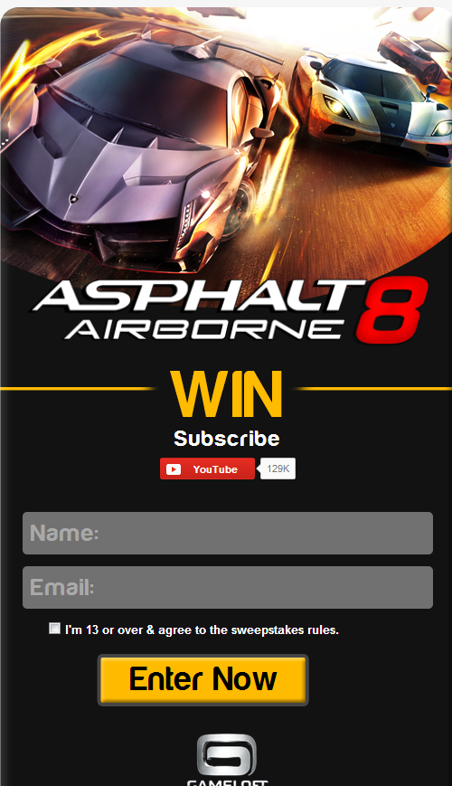 Win and Play Asphalt 8 : Airborne before anyone else as a promo from Gameloft, read and sign in