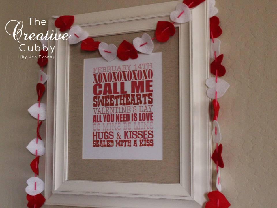 valentines felt heart garland