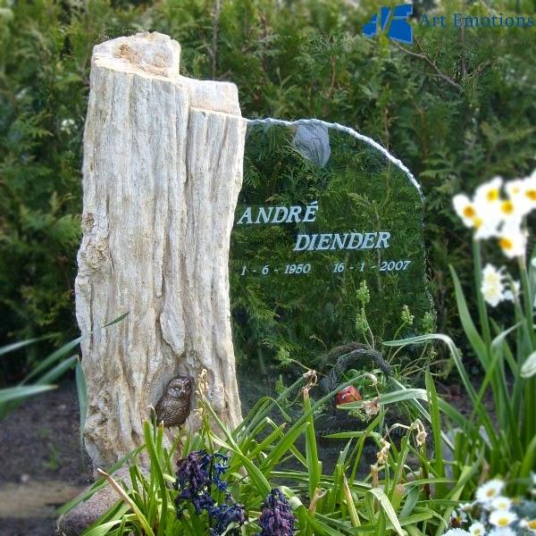 grafsteen versteend hout met glas