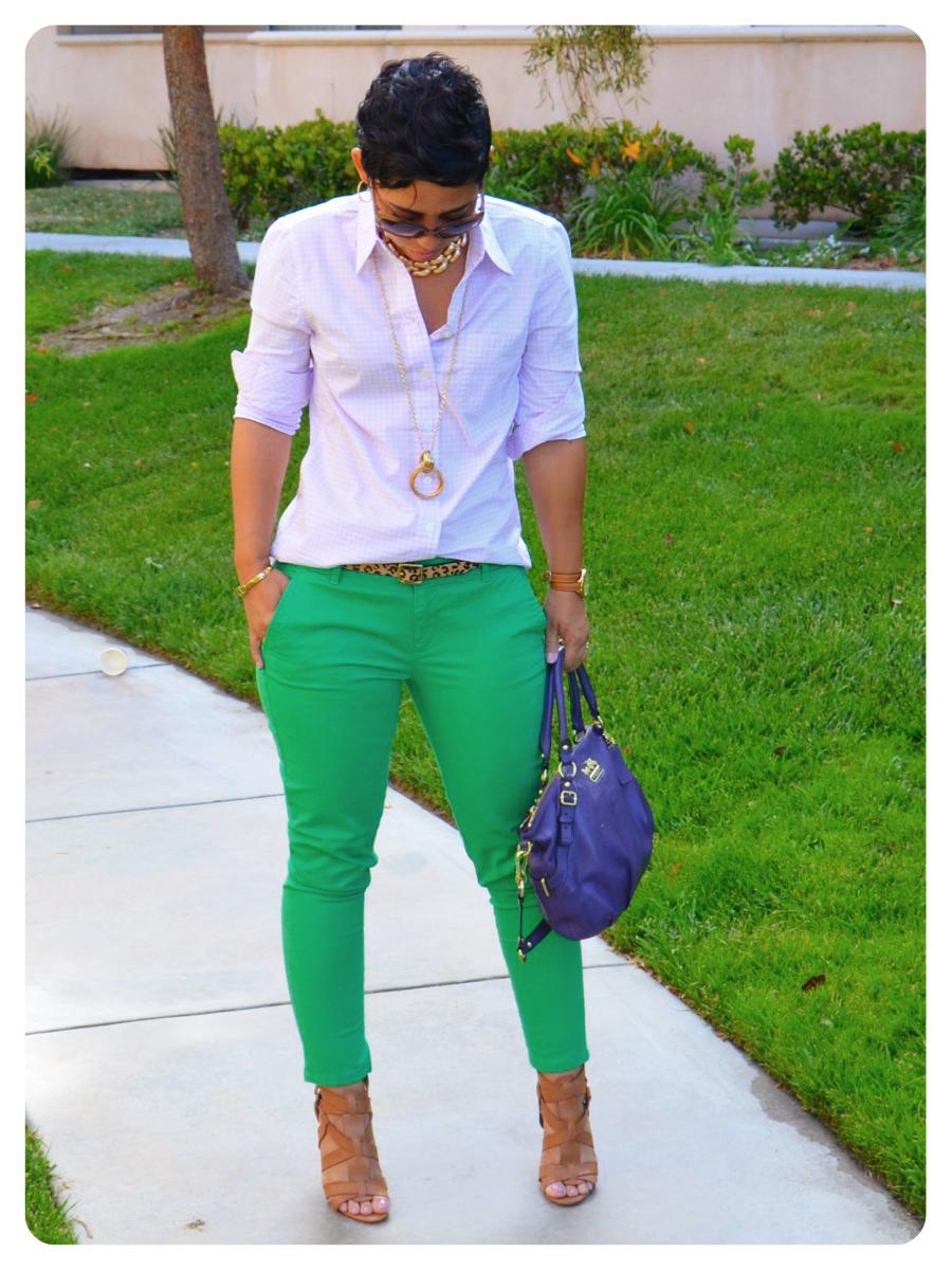 OOTD: Purple Windowpanes + Green Skinny Mini's |Fashion ...