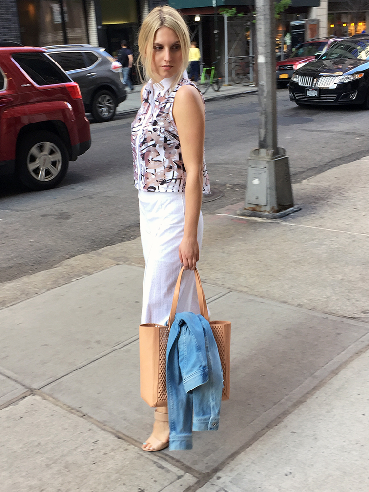 Keaton Row x Fashion Over Reason, @heleneisfor, Milly abstract top, Vince Gemma heels, Elie Tahari culottes, Loeffler Randall nude bag, New York City