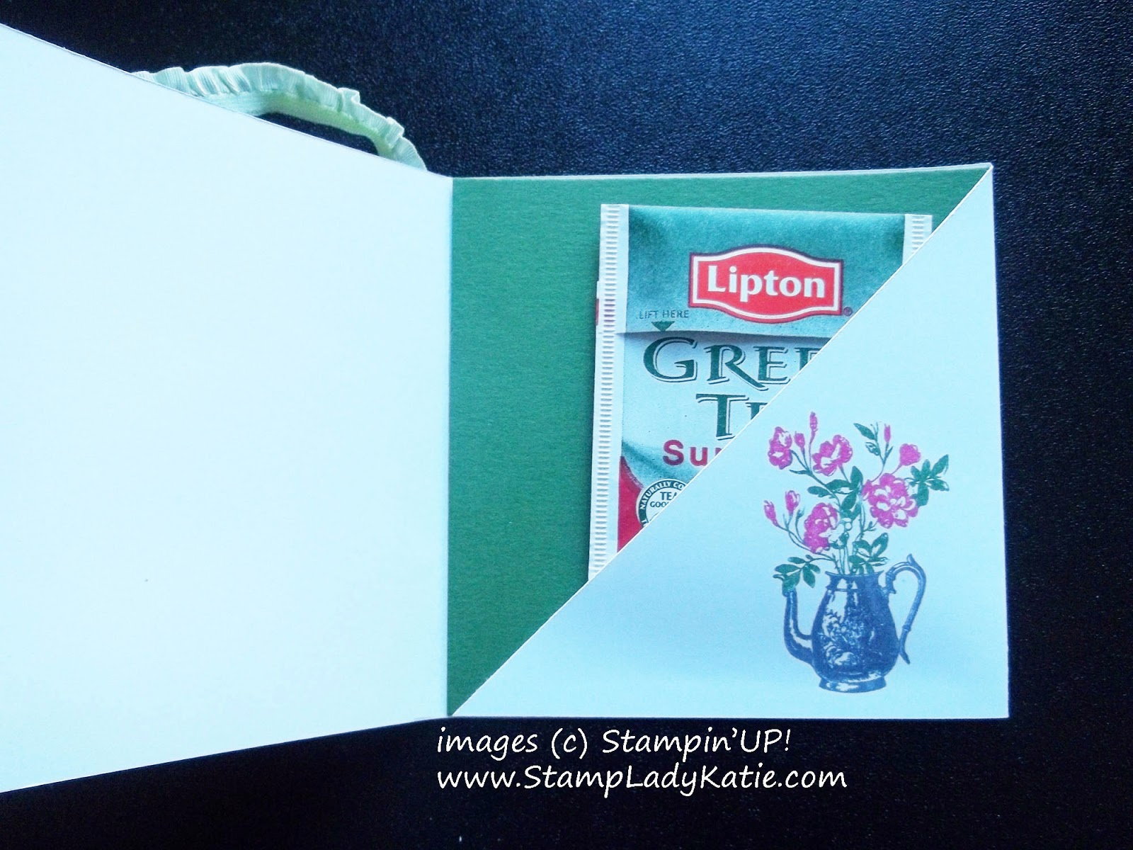 Teabag card made with Stampin'UP!'s Tea Party Stamp Set.