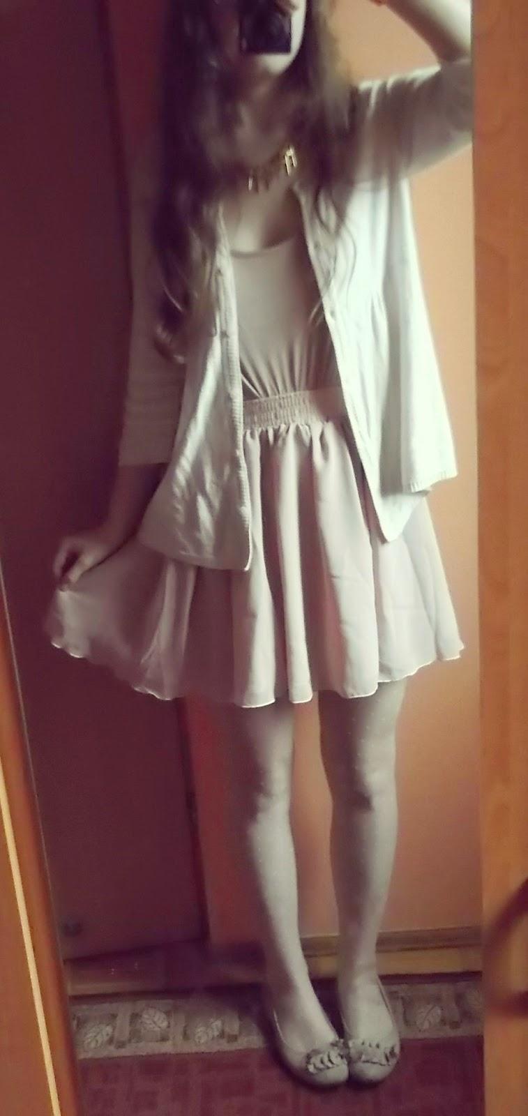 OOTD: pudrowa spódnica i złote dodatki + nowości ciuchowe :)