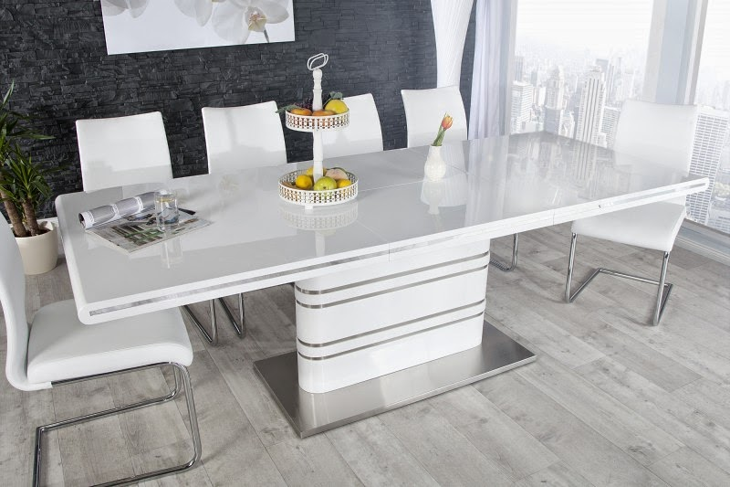 jedalensky stôl v bielej lesklej farbe s dlzkou 220cm.