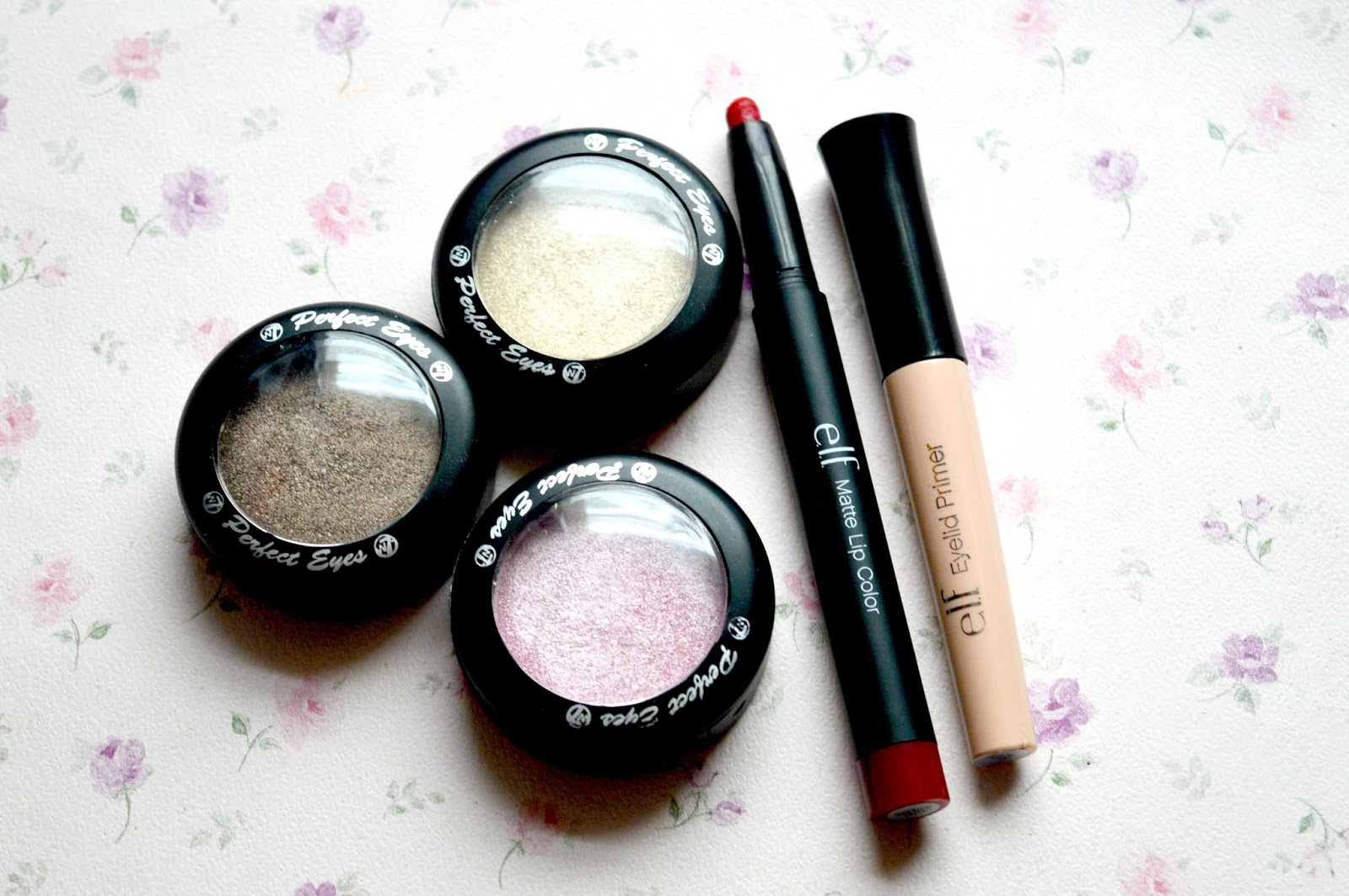 3 Super Affordable Underrated Products That Deserve More Hype | ELF Studio Matte Lip Colour in Rich Red, W7 Perfect Eyes Eyeshadows and ELF Eyelid Primer in Sheer