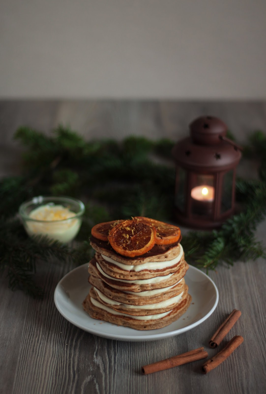 Christmas Orange and Cinnamon Pancakes with White Chocolate Yoghurt Cream and Lemon Zest - recipe brought to you by Pancake Stories.