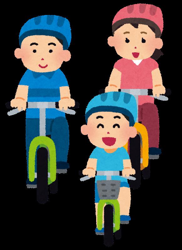 自転車にのった家族が仲良く ...