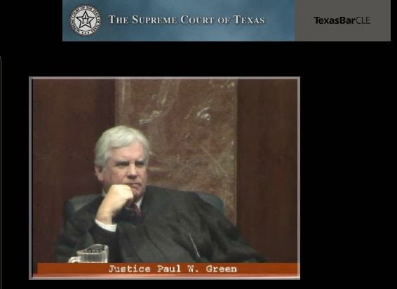 Justice Green at oral argument in health care liability arbitration case (video capture)