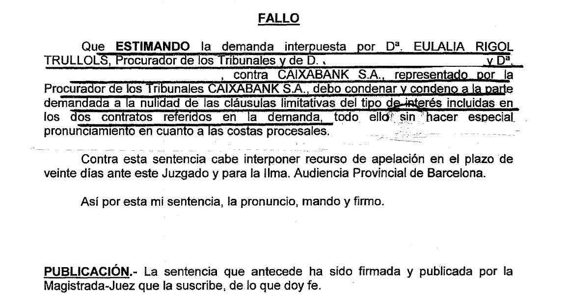 Sentencia anulación cláusula suelo Caixabank (La Caixa)
