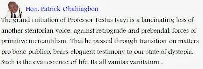 Patrick Obahiagbon Mourns Dr Festus Iyayi .
