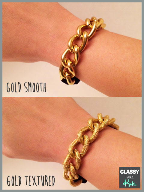 Classy with a Kick: Gold Chunky Chain Bracelet Hair Ties