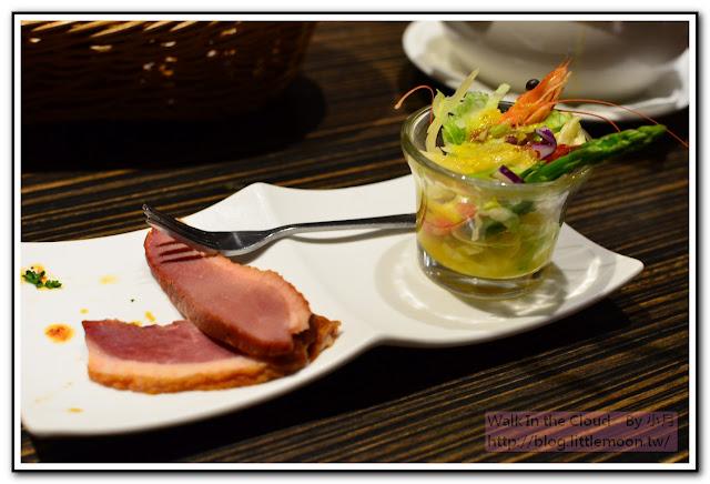 開胃菜法式鴨胸佐鮮蝦蘆筍