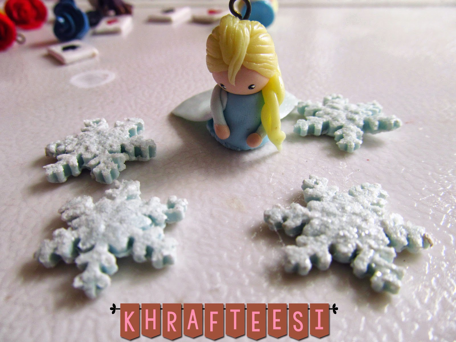 Elsa Chibi charm with Clay snowflakes