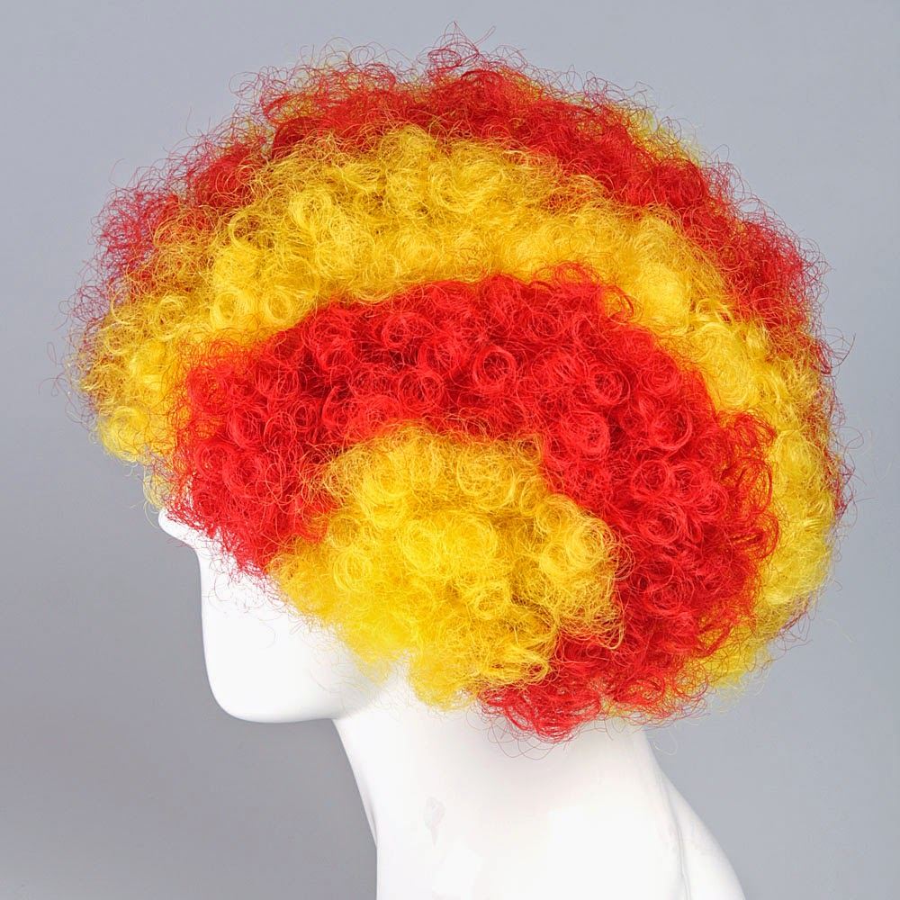 Spain BARCELONA Catalonian flag Wig Afro Red Yellow Vote for peace