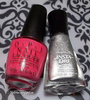 OPI 'Elephantastic Pink', and Sally Hansen Insta-Dri 'Silver Sweep'