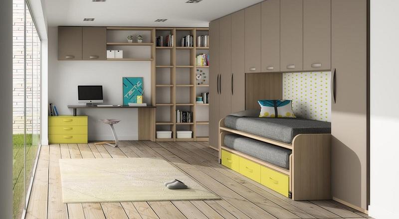 Dormitorios juveniles en colores arena Armario puente juvenil