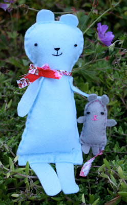 Blue Felt Bear & Grey Mouse
