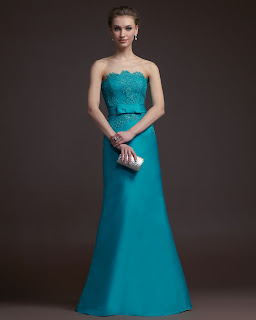 Charming A-line Strapless Beading Bow(s) Lace Floor-length Satin Prom Dresses