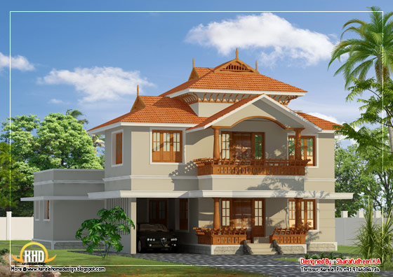 Beautiful Kerala Style Duplex Home Design - 2633 Sq. Ft. (245 Sq. Ft.) (293 Square Yards) - March 2012