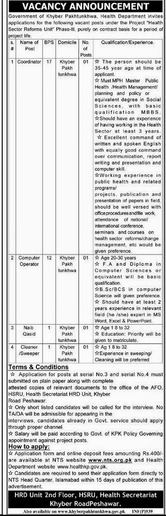 Government of Khyber Pakhtunkhwa Health Dept Jobs