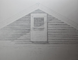 architectural graphite drawing of house, work in progress, realism