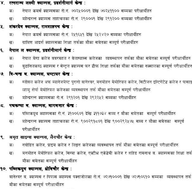 Tu Exam center for BBS and Bed First year 2070