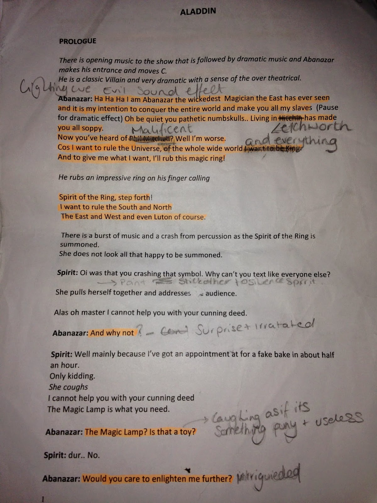 here is my annotated script of act one
