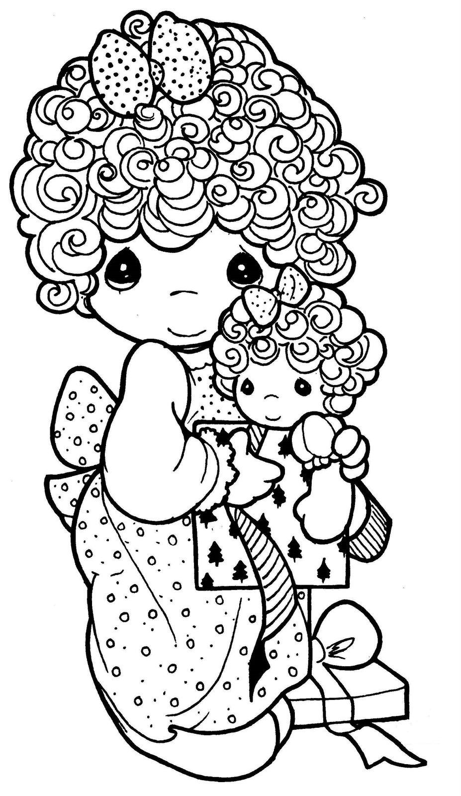 Drawing of girl with doll precious moments coloring for Precious moments coloring book pages