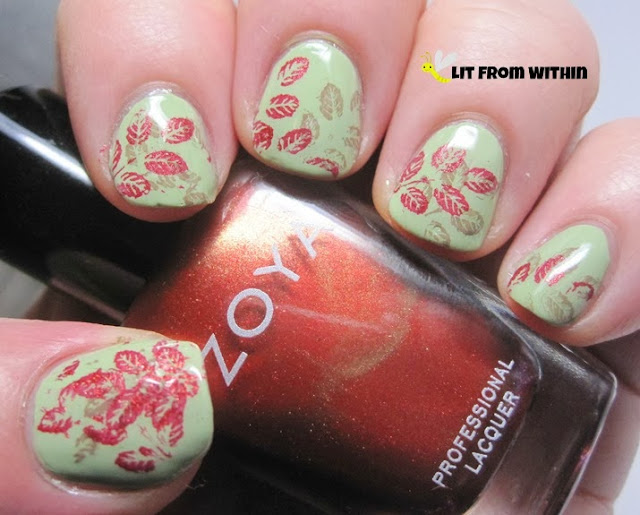 the plate is Anna's Nail Art W228, a branch with 5 leaves on it