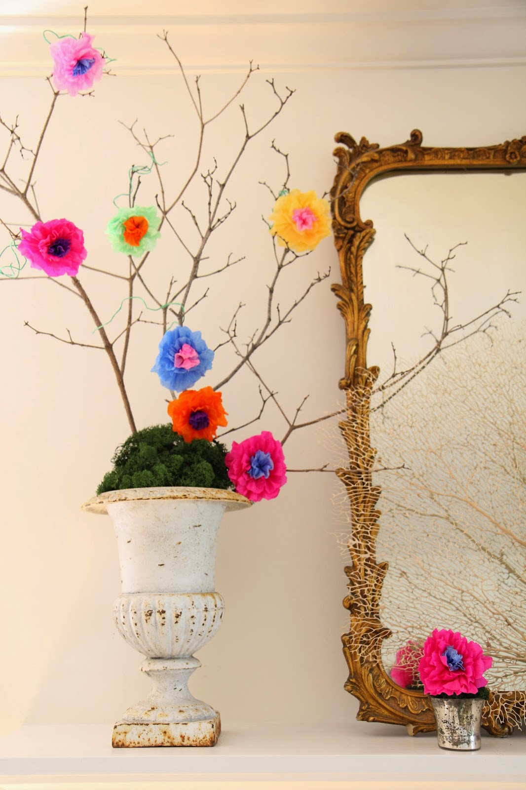 Mexican Crepe-Paper Flowers in Several Colors; Cinco De Mayo Mantle Decor -- Nora's Nest