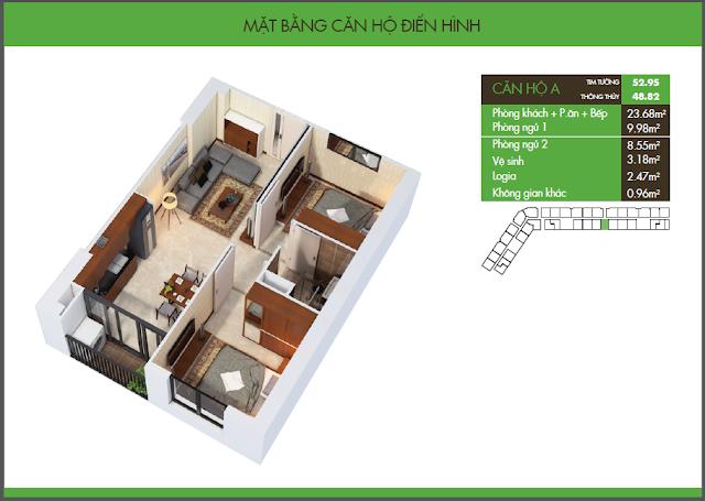 mặt bằng hh2 dương nội - căn hộ A