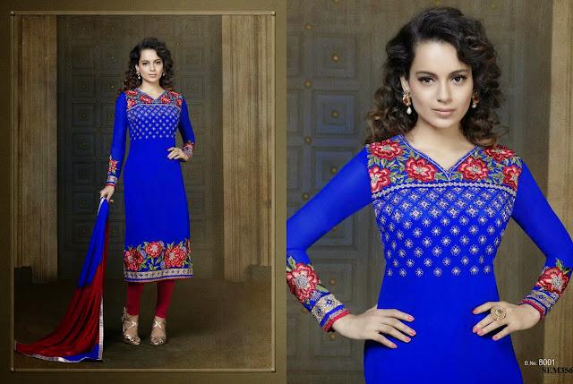 Kangna Ranaut Designer Embroidery Long Salwar Kameez