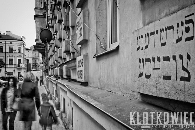 Tarnów: reklama restauracji Goldberga w języku jidysz