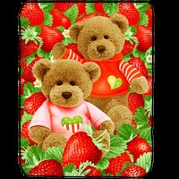 Grosir Selimut Kendra Soft Panel Blanket Strawberry Bear