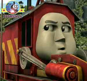 Thomas and Rocky the crane answer the distress signal emergency service firefighter Flynn the train