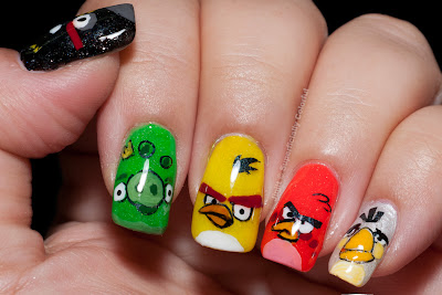 Angry Birds over The Nail Junkie's jelly polishes