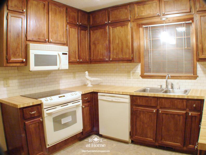 B e interiors rental reno reveal part 1 for Bombay mahogany kitchen cabinets